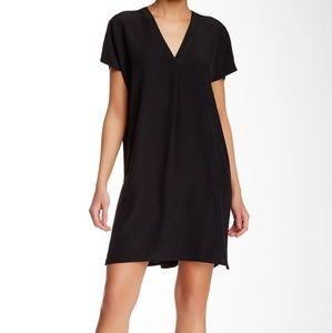 Vince V-neck Silk Shift Dress Black